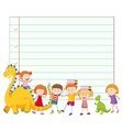 Paper design with children and dinosaur vector image