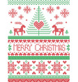 Tall merry Xmas pattern with reindeer in green red vector image