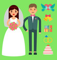wedding bride and groom couple invitation vector image