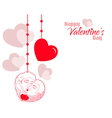 Valentine Couple Hearts Background vector image vector image