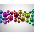 Gift card with colorful christmas balls vector image