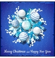 Christmas card on silver wreath with balls vector image