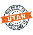 welcome to Utah orange round ribbon stamp vector image