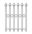 Decorative iron fence icon monochrome vector image