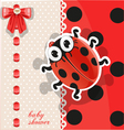 Delicate red baby shower card with cute cartoon vector image