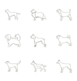 Dog breeds set icons in outline style Big vector image