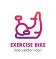 exercise bike line icon isolated over white vector image