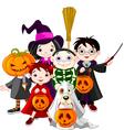 Halloween children trick or treating in halloween vector image