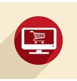 monitor with symbol shopping cart vector image