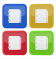 set of four square icons - notepad with pencil vector image