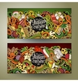 Cartoon hand-drawn doodles italian food banners vector image