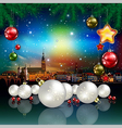 Christmas greeting with panorama of city and white vector image