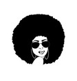 african american woman silhouette afro portrait vector image