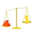 Golden scalesDollar and heart vector image