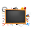 desing of back to school on the black desk vector image
