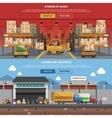 Warehouse Horizontal Banner Set vector image
