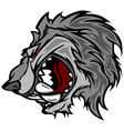 Wolf Mascot Cartoon with Snarling Face vector image vector image