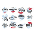 kitchen equipment sale logos set vector image