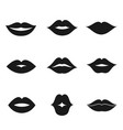 lips black shape icon set vector image