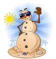 Sand Snowman Cartoon Character vector image