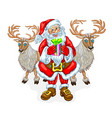 santa claus and reindeers vector image