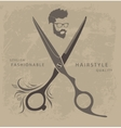Set of Barber Shop design elements with bearded vector image