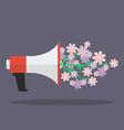 Megaphone with flower flat icon vector image