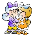 Hand-drawn of two cute girls there are freinds vector image vector image