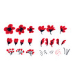 abstract hand drawn red flower vector image vector image