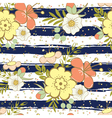 Pattern with flowers and lines vector