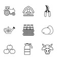 farmer equipment icons set outline style vector image