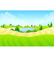 Green landscape with lake vector image