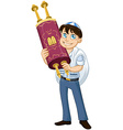 Jewish Boy With Talit Holds Torah For Bat Mitzvah vector image