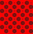 monochrome pattern symmetrical flower on red vector image