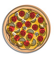 pizza icon in watercolor silhouette on white vector image