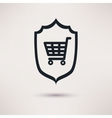Shopping and shield Sign of consumer protection vector image