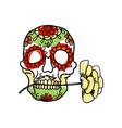sugar skull hand drawn icon vector image
