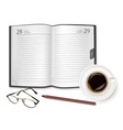 cup of fragrant coffee diary vector image vector image