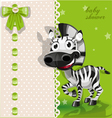 Delicate green baby shower card with zebra vector image vector image