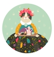 Cute cat with teapot and cakes wearing dress vector image