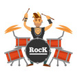 drum player with iroquois performs rock song vector image
