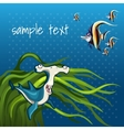 Fish hammer in algae on a blue background vector image