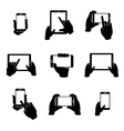 Hands holding phone and tablet icons set vector image