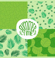 set of patterns with foliage plants or leaves vector image