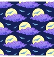 Violet clouds yellow moon and blue bats vector image vector image