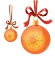 Christmas toy balls on ribbons vector image vector image