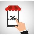mobile phone silhouette sportman swimming vector image