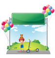 A young boy with his toys near the empty signage vector image vector image