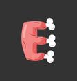 letter e meat font pork and bone alphabet sign vector image