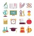 Set of flat education icons vector image